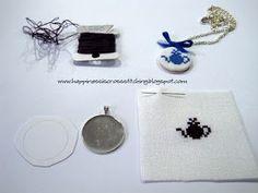 Lynn B 's finishing instructions for cross stitch : Cross stitch necklace tutorial