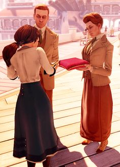 """Bioshock Infinite Lutece Twins: """"The bird or the cage?"""" - They seem a little scary at the beginning because you don't know what they want. But it turns out the Luteces just want to help Elizabeth survive so they can prevent humanity's destruction in the future. Just another day for our resident Bioshock Timelords..."""