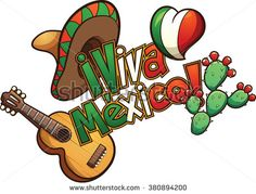 "Mexican elements set up in a banner reading ""Viva Mexico!"". Vector clip art illustration with simple gradients. Each element on a separate layer."