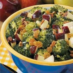 Broccoli Waldorf Salad Recipe -This salad is as easy to prepare as it is to eat! A colorful combination of apples, raisins and pecans jazzes up broccoli florets in this summery side dish. Its tangy-sweet flavor makes it a standout at company picnics and church potlucks.