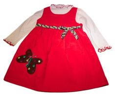 Bonnie Jean Toddlers 2t 2-piece Red White Dropped Butterfly Applique Corduroy Jumper Girl Dress Outfit/setFrom #Bonnie Jean List Price: $44.99Price: $28.99 Availability: Usually ships in 1-2 business daysShips From #and sold by OUR BABY BOUTIQUE