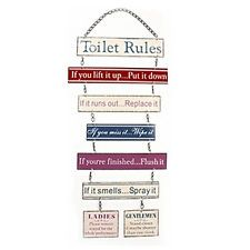TOILET RULES HANGING PLAQUE METAL BATHROOM SIGN FUNNY MESSAGE DOOR ...