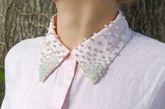 DIY: pearl embellished collar