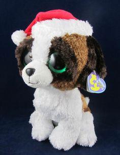 Ty Beanie Boos Brown White Stuffed Sitting Puppy Dog Animal Mint Red Santa Hat | eBay