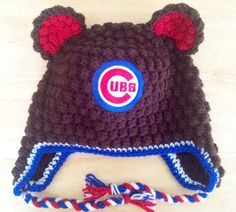 Handmade Crochet Chicago Cubs  Bear Hat by EverydayCrochet247