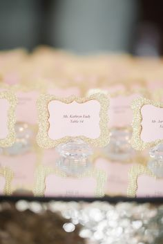 DIY Sparkly Gold and Blush Escort Cards