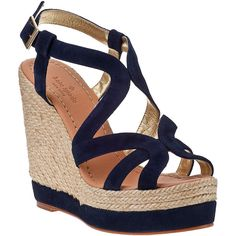 KATE SPADE Liv Wedge Espadrille Navy Suede ($298) ❤ liked on Polyvore