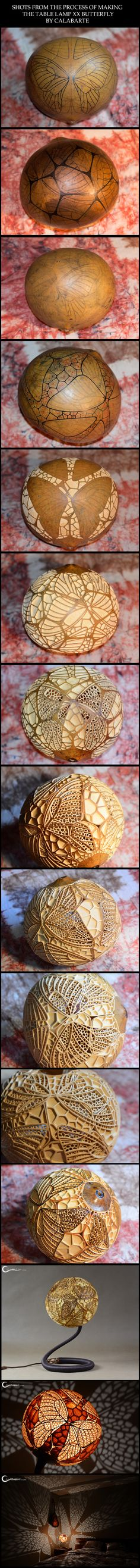 Shots from the process of making the Table Lamp XX by Calabarte. Unique handcrafted gourd lamp. Follow Calabarte on Facebook: https://www.facebook.com/calabarte