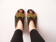 Woman Slippers Black and Peach, Hand Knit Turkish Slippers,Turkish Socks on Etsy, $30.00