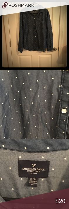 American Eagle dark denim shirt with white stars AEO dark denim button up. No defects. Has all buttons. Gently worn. Bundle with like items for extra savings. Offers are welcome American Eagle Outfitters Tops Button Down Shirts