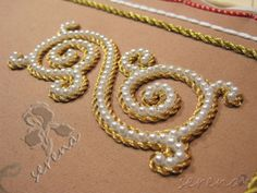 Golden and pearl embroidery Pearl Embroidery, Tambour Embroidery, Silk Ribbon Embroidery, Hand Embroidery Designs, Embroidery Patterns, Sewing Patterns, Bordados Tambour, Crazy Quilting, Tambour Beading