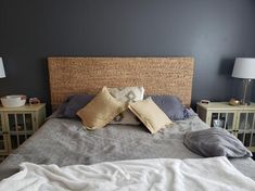 StyleWell Caspian Natural Finish Wood and Water HyacinthTwin Headboard (41.34 in W. X 55.5 in H.)-BD1805459-NAT - The Home Depot King Bedroom Sets, Home Bedroom, Bedroom Decor, Master Bedroom, Grey Headboard, Queen Size Headboard, Water Hyacinth, Adjustable Beds, Bedding Shop