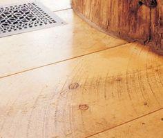 Planed white pine floor