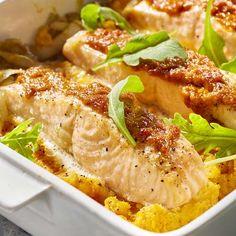 Parmentier van zoete aardappel met zalm en witloof
