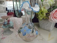 Fenton Handpainted Blue Flowered Ruffled Glass by MadGirlRetro