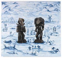 Djordje Ozbolt, Les Visiteurs, 2009, acrylic on board, 170 x 180,5 cm