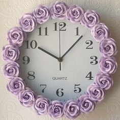 Exquisite Rose Lavender Rose Wall Clock