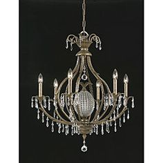 An English bronze finish highlights this elaborate Aloha chandelier. This elegant 6-light fixture features prism crystal accents.