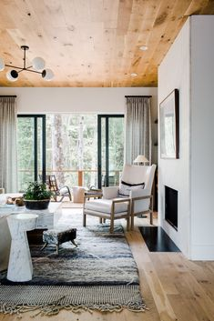 """interior-design-home: """"Interior designer Rebecca Cartwright blends rustic and modern touches in this chic home, in Serenbe, an arts and wellness community. Modern Lake House, Living Room Modern, My Living Room, Living Room Decor, Living Room Designs, Living Spaces, Industrial Interior Design, Contemporary Interior Design, Industrial Interiors"""