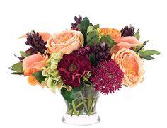 Rose Zinnia (OF066): Rose Zinnia, Apricot Burgundy, Glass Bowl, 16wx15dx12h