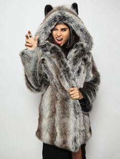 LOYAL - SOCIAL - TEACHER The wolf is a social animal and a great communicator, often teaching valuable lessons to who ever is around. Wolves are team players and work well in groups. Those with a wolf Grey Faux Fur Coat, Long Grey Coat, Faux Fur Hooded Coat, Faux Fur Jacket, Gray Coat, Wolf, Free People Jacket, Fashion Moda, Winter Coat