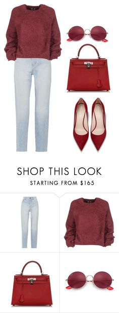 """Red cherry"" by ale-pink5 ❤ liked on Polyvore featuring Yves Saint Laurent, Tom Ford, Hermès and Ray-Ban"