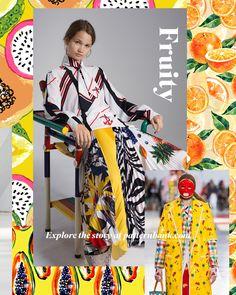 a1368046de0dba Colourful fruity mixtures and fruit segments create fun tropical prints for  Spring/Summer 2020.