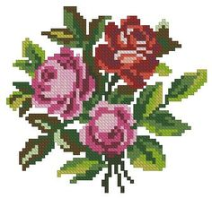 Small roses antique cross stitc pattern for Berlinwork