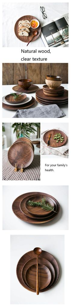 High Quality Plates Black Walnut Wooden Tableware Beech Wood Plate Handmade Log Dish For Daily Use Gifts-in Dishes & Plates from Home & Garden on  affiliate link