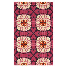 Hand-hooked wool rug with a medallion motif.  Product: RugConstruction Material: 100% WoolColor: Pink...