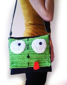 Invader Zim Gir Messenger Bag, Crochet Front FREE SHIPPING IN U.S.. $36.00, via Etsy.