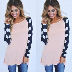NEW-Womens-Autumn-Casual-Long-Sleeve-Colorblocked-Baseball-T-Shirt-Blouse-Tops