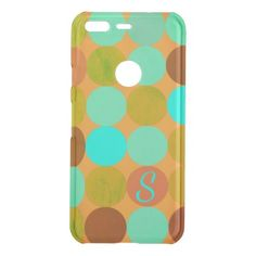 Turquoise Blue & Orange Circles Monogram Uncommon Google Pixel Case - monogram gifts unique design style monogrammed diy cyo customize