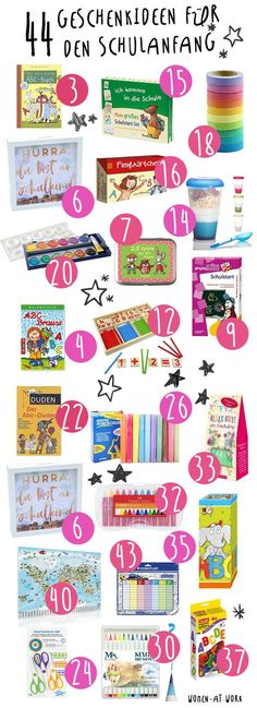 44 gift ideas for the beginning of school and the school bag- 44 Geschenkideen für den Schulanfang und die Schultüte 44 gift ideas for the beginning of school and the school bag -