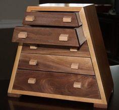 Custom Made Solid Cherry And Black Walnut Jewelry Box. Custom Made Solid Cherry And Black Walnut Jewelry Box.
