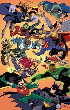 Teen Titans animated by Tim Levins Justice League vs. Teen Titans animated by Tim Levins Teen Titans Go, Teen Titans Starfire, Teen Titans Fanart, Dc Comics Heroes, Dc Comics Art, Marvel Dc Comics, Original Teen Titans, Desenhos Cartoon Network, Justice League Unlimited