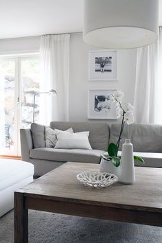 interior / decor / home // living room // white / grey