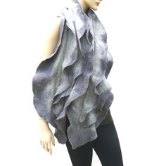 Felted ruffled scarf gray merino wool felt shawl   by MajorLaura