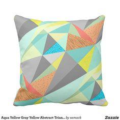 Aqua Yellow Gray Yellow Abstract Triangle Pattern