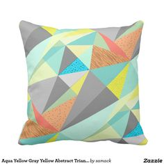 Aqua Yellow Gray Yellow Abstract Triangle Pattern Throw Pillow