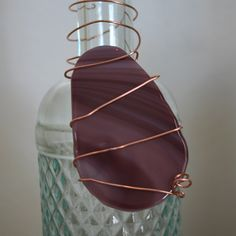 Easter egg wine bottle charm in fused glass & copper wire. $7.00, via Etsy.