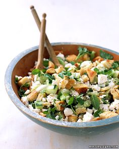 Pita-Bread Salad with Cucumber, Mint, and Feta, Wholeliving.com