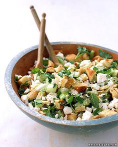 salad with cucumber, mint, feta & pita
