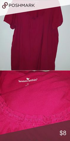 Shirred A Line Top Hot Pink rounded shirred neckline.  Cotton blend, like new. Woman Within Tops Tees - Short Sleeve