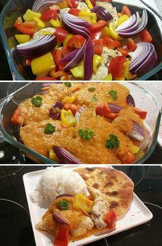 Utrolig nem og lækker ret med kylling, som tilberedes i fad i selskab med en let krydret mangosauce.