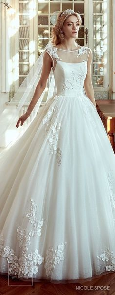 Nicole Spose Wedding Dress Collection 2017 | Illusion neckline ballgown with lace appliques bridal gown #weddingdress #bridalgown #brides #weddings #bridal