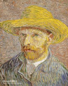 Self Portrait With Straw Hat by Vincent Van Gogh - Oil Painting Reproduction - BrushWiz.com