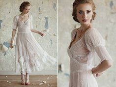 Love this tea length wedding dress style.