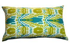 BOLD & BEAUTIFUL  Ikat 14x24 Pillow, Green & Blue  DIVINE DESIGNS    $59.00