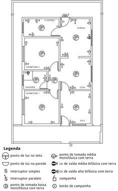 Projeto Instalação Elétrica Residencial Saiba Como Fazer Electrical Layout, Electrical Plan, Electrical Projects, Electrical Installation, Electrical Wiring, Casa Feng Shui, 30x40 House Plans, Plane Design, House Wiring